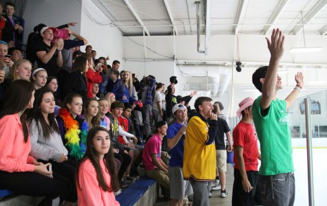 MHS and LZ students combine to cheer on the LZMW hockey team on Nov. 4 2015.