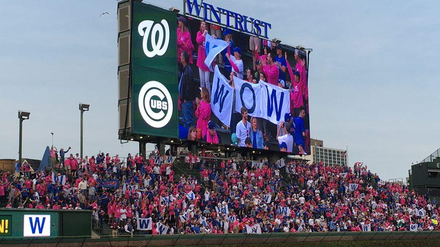 To celebrate Mother's Day, Jonny Martin, sophomore, took his mom, aunt and grandma to the new Wrigley Field to see the Cubs play Washington Nationals on Saturday, May 7. One of the new renovations is an LED screen placed in the left field.