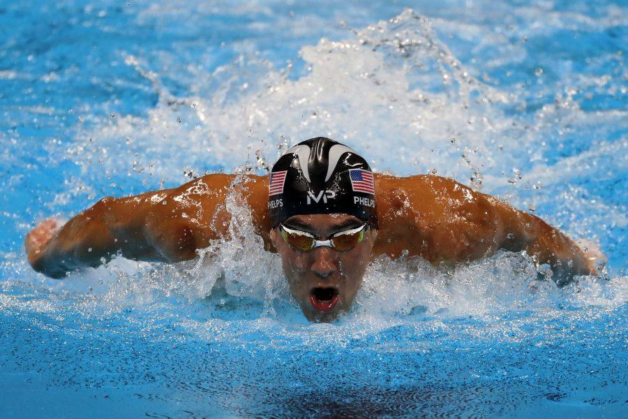 Phelps swims in 100-meter butterfly at the Rio games.