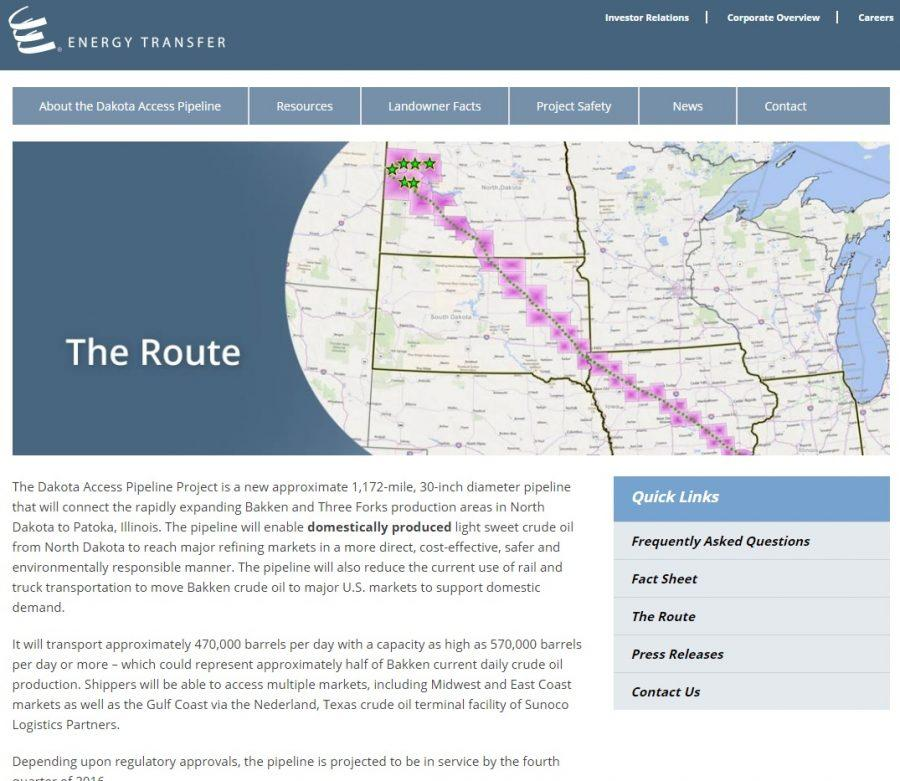Information and map featured on the official Dakota Access Pipeline website.