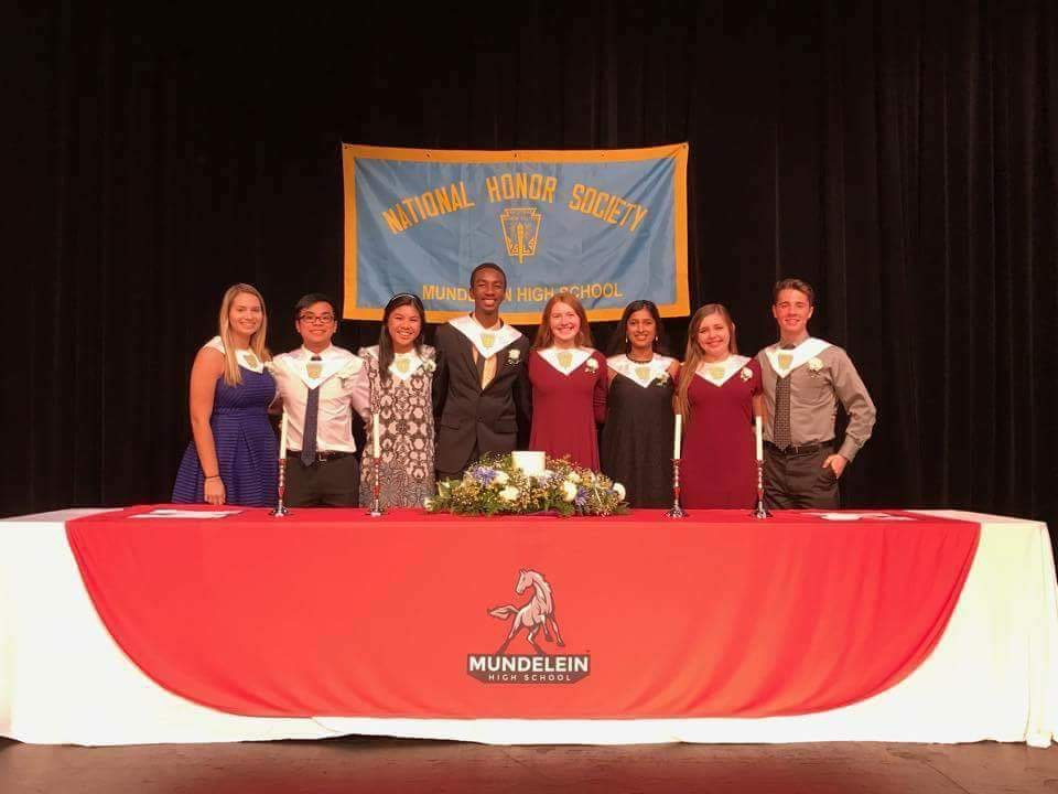 National Honor Society officers pose on induction night for new members.