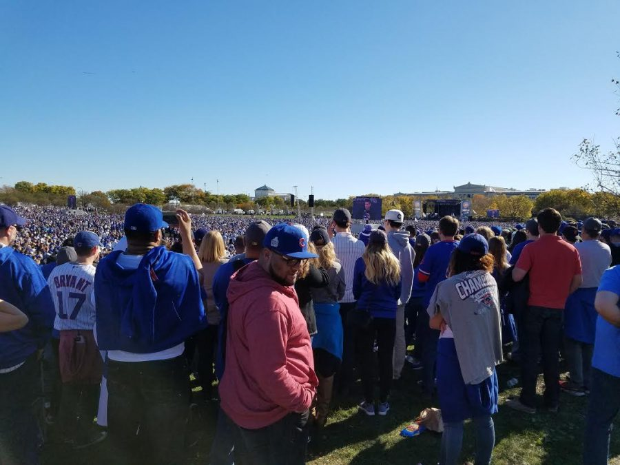 Millions of fans watch as the celebration rally takes place. Players, managers, and executive members of the team spoke in front of the large crowd.