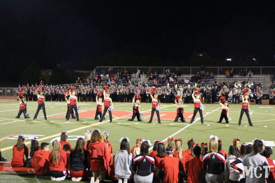 MHS Varsity Dance team performs at half time during the first football game on September 2, 2016 against Elgin.  photo submitted by Joselle Escobar