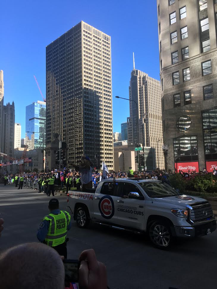Clark+the+Cub+rides+down+Michigan+Ave.+in+the+Cubs+Victory+Parade+on+Friday%2C+November+4.