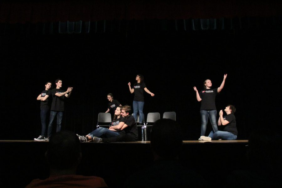 Mundelein+Theatre+students+present+their+entry+in+the+Battle+of+the+Bard+competition.