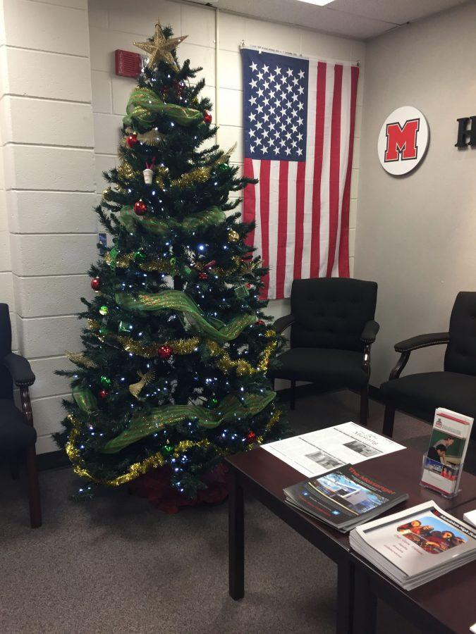 MHS%27s+front+office+features+a+Christmas+tree+this+time+of+year.+There+is+also+a+menorah+located+in+the+attendance+office.