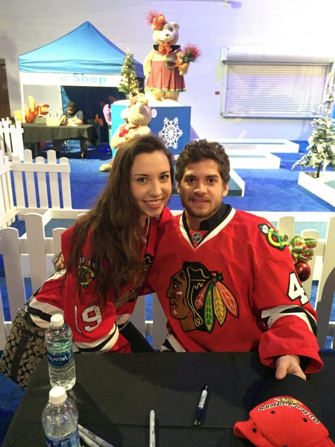 Senior Delaney Appelhans with Blackhawks player Vinnie Hinostroza. Photo submitted by Delaney Appelhans.