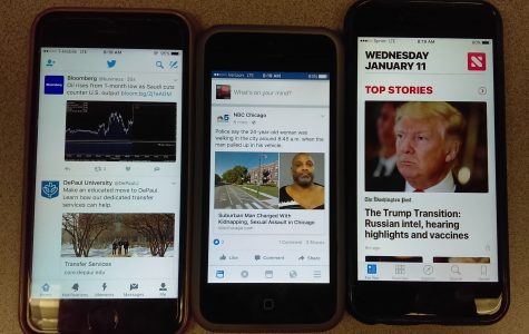 Modern media news outlets include the apps Twitter, Facebook and News.
