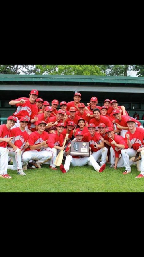The baseball team celebrates defeating Warren in the Sectional Championship last May at Stevenson High School.