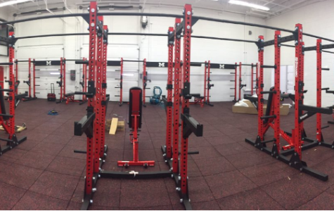 New weight racks from the weight room remodel. Photo courtesy of Larry Calhoun's Twitter.