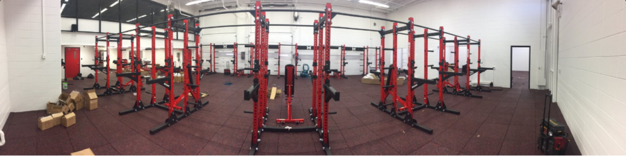 New+weight+racks+from+the+weight+room+remodel.+Photo+courtesy+of+Larry+Calhoun%27s+Twitter.