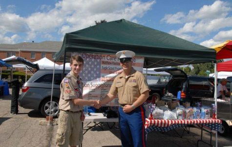 Matthew Pawlowski, freshman, helps U.S. troops by collecting donations. Photo submitted by Matthew Pawlowski.