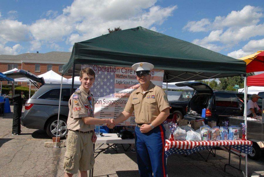 Matthew Pawlowski, freshman, helps U.S. troops by collecting donations. Photo submitted by Matthew Pawlowski.