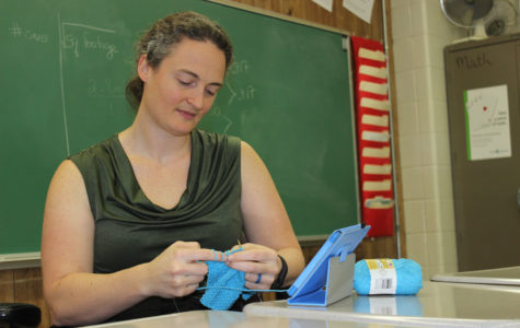 Mathematics teacher Catherine White during a knitting club session.