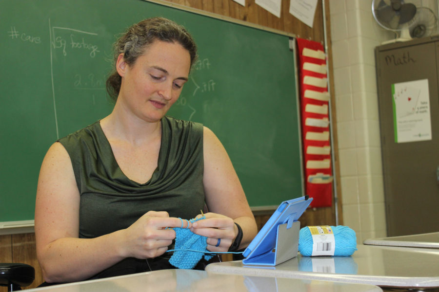 Mathematics teacher Catherine White during a knitting club session.