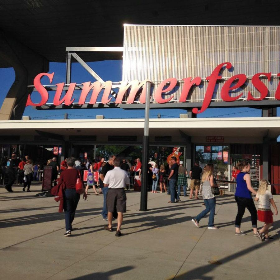 The main entrance to Summerfests American Family Insurance Amphitheater. Fans arrive early on June 24, 2015, to enjoy the nights headliner, The Rolling Stones.
