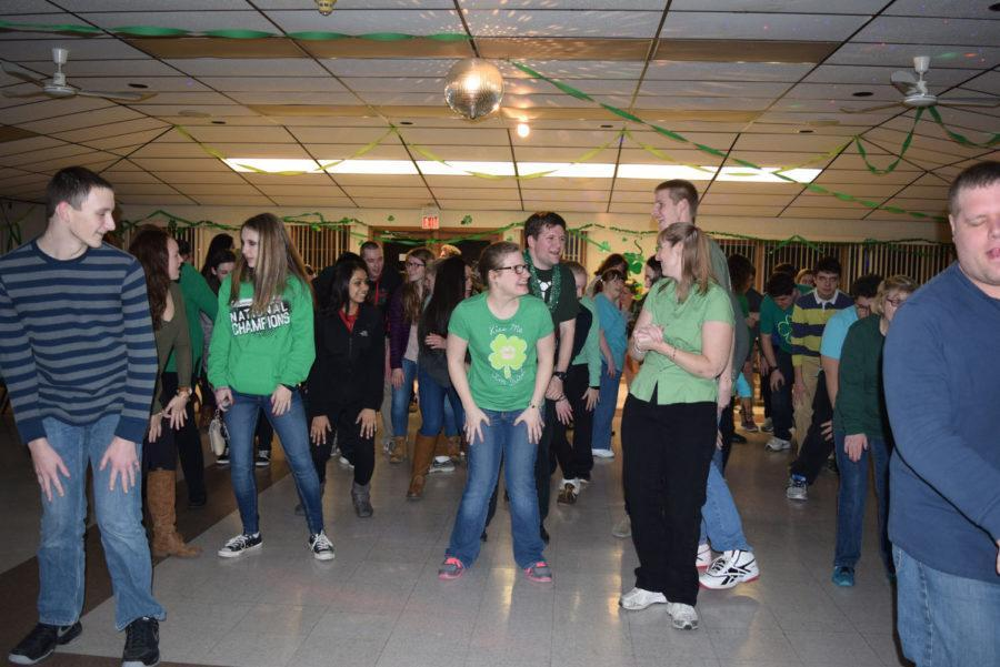 Students enjoy the 2016 Saint Patrick's Day Dance.