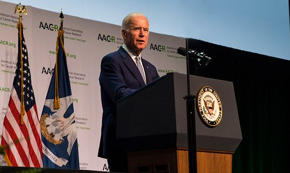Joe Biden speaking at an American Association for Cancer Research (AACR) conference. Photo courtesy of AACR Twitter.