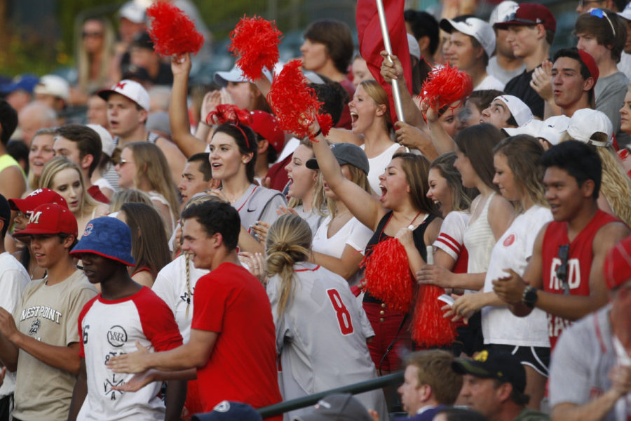 MHS students cheer for the baseball team during the team's 2016 summer playoff run. Photo by VIP.