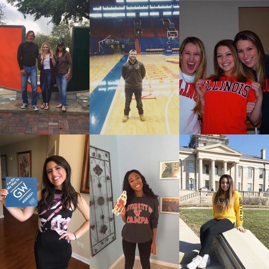 MHS Seniors show off their college choice; clockwise from top left, Danie Hoffstadt, Ryan Scott, Taylor Shanahan, Jenny Nayden, Celeste Cruickshank and Adriana Feijoo. Photo collage submitted by Adriana Feijoo.
