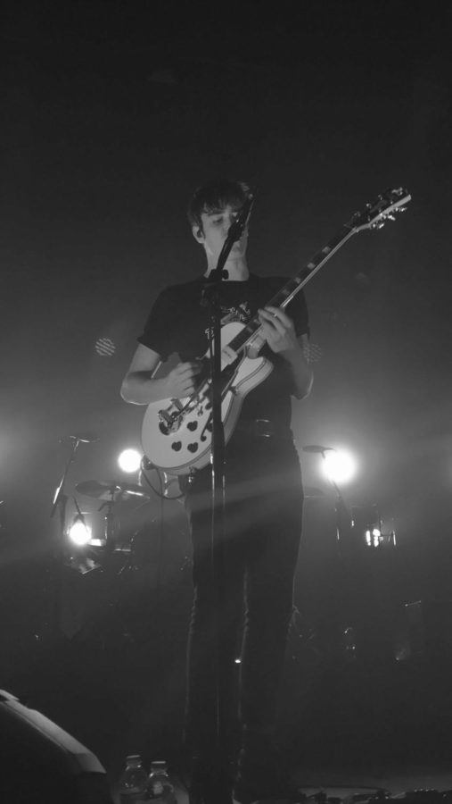 Lead singer of Hippo Campus, Jake Luppen, at their show in Wisconsin on November 11, 2017.