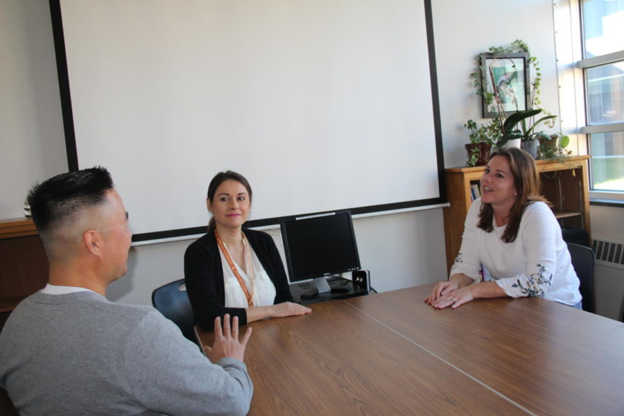 On Oct. 23, Counselors Samantha Smigielski, Elena Martinez and James Ku meet together in the Guidance Office conference room.