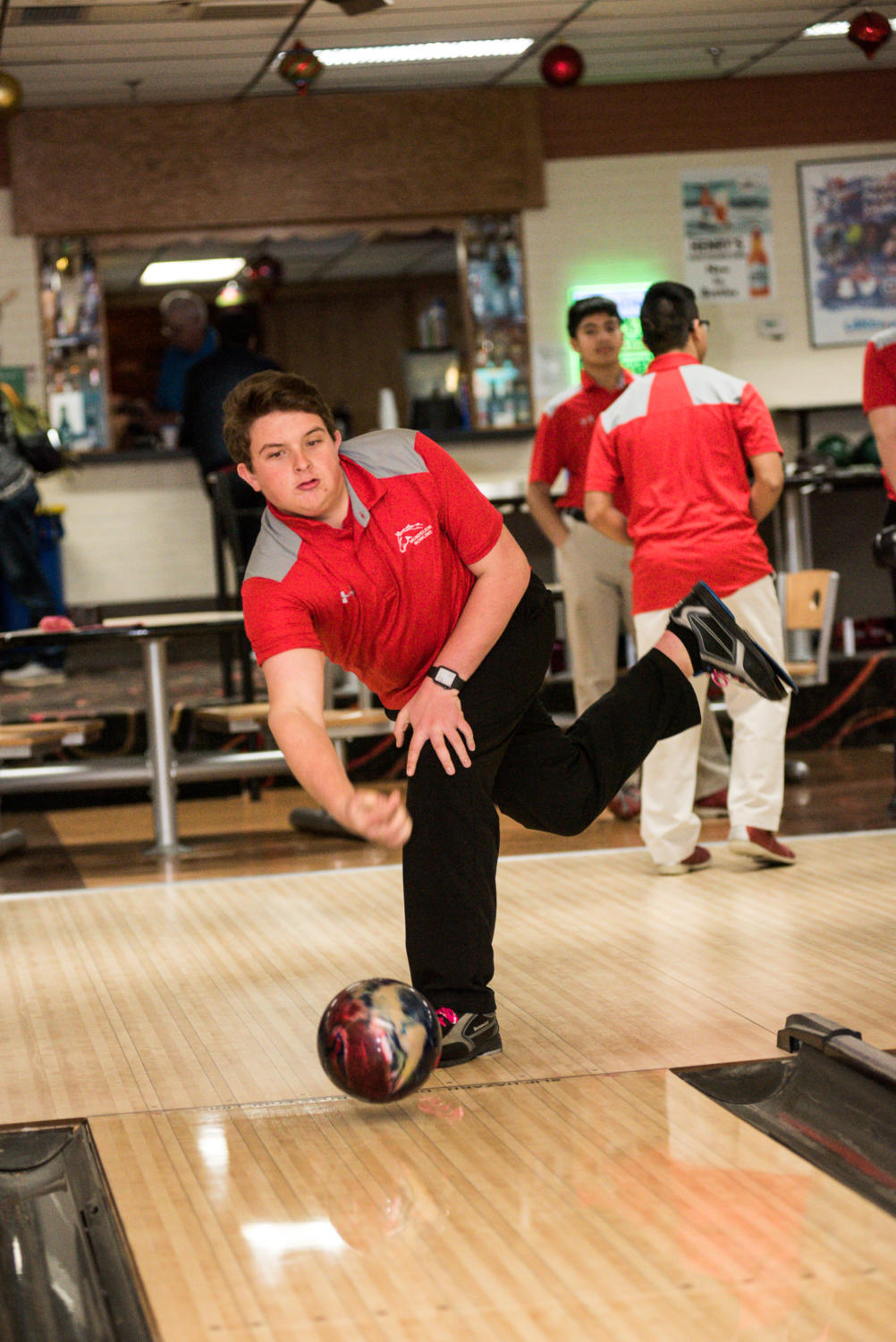 Nick Prochnow, senior, bowls at a practice on Dec. 3, 2018. Prochnow has been on the team for both years of the program's existence.