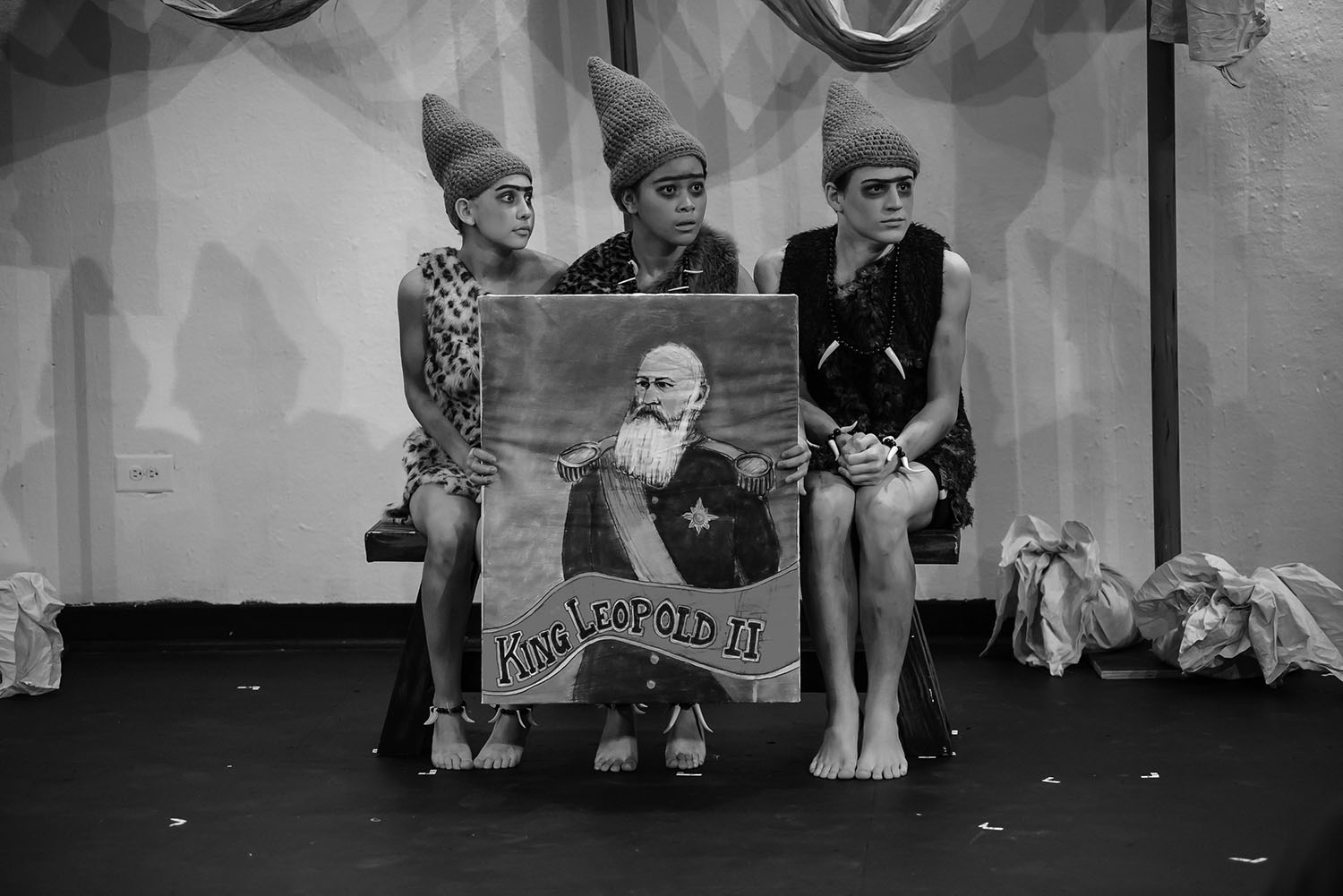 Juniors Zoe Trahan, Mira Guiritan and Luke Fuller play the role of Pinheads for the Mundelein Theatre's production of