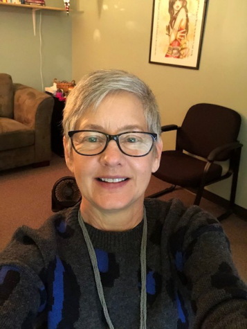 "Julie Wheeler, social worker, shares a selfie from her school office on Jan. 25-- the first day MHS returned to a form of in-person learning since March of 2020. She said, ""It's so nice to have students back in the building."""