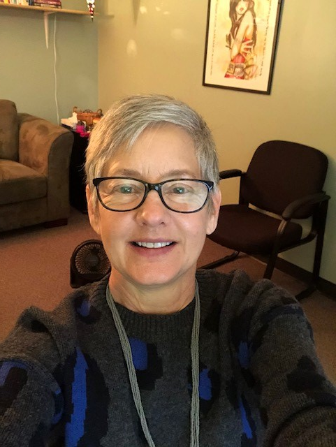 """Julie Wheeler, social worker, shares a selfie from her school office on Jan. 25-- the first day MHS returned to a form of in-person learning since March of 2020. She said, """"It's so nice to have students back in the building."""""""
