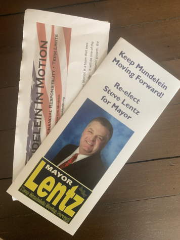 Flyers from Village of Mundelein mayoral candidates have been circulating around town and have been mailed to citizens of Mundelein. Such flyers include those from current Mayor Steve Lentz, whose campaign slogan is 'Keep Mundelein Moving Forward,' and current Village Trustee Dawn Abernathy, who is challenging Lentz with support from the local political organization Mundelein in Motion.